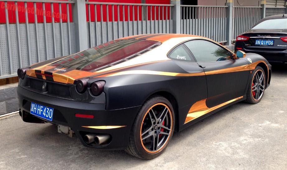 Ferrari F430 is matte black & gold in China - CarNewsChina.com