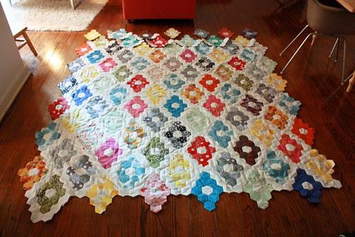 Hexagon Quilt Progress, 5/10/12