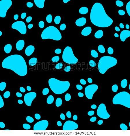 Cute Cartoon Cat Footprints In Blue And Black, Raster Version ...
