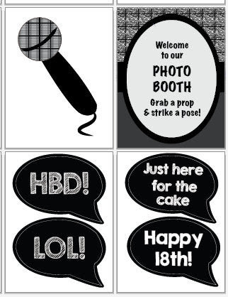 18th Birthday Photo Booth Props Printable Red Morning Studios