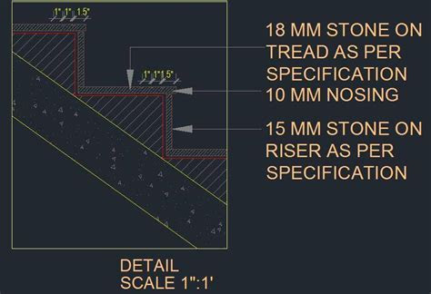 R.C.C. Staircase Sectional Tread and Riser Detail   Plan n Design