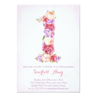 floral 1st birthday invitation, number 1 invites