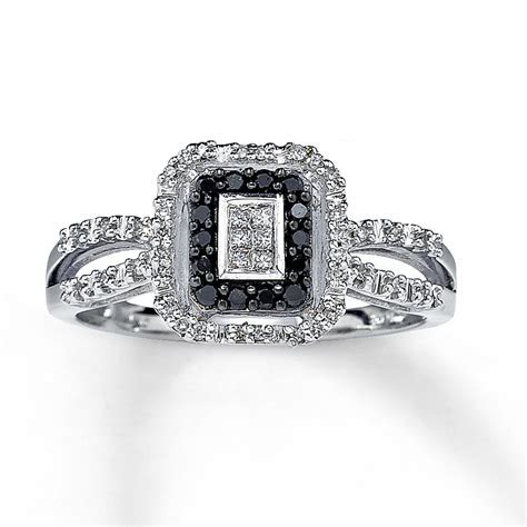 Black Diamond Ring Princess Cut 10K White Gold   22446607