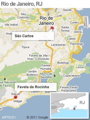 Mapa operação da polícia na Rocinha, no RJ  (Foto: Arte G1)