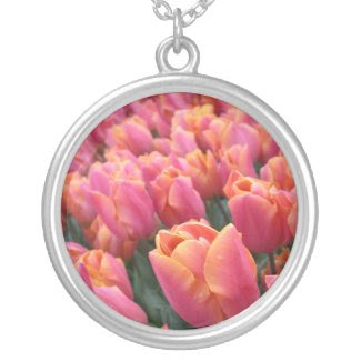 Pink Tulips Round Pendant Necklace necklace