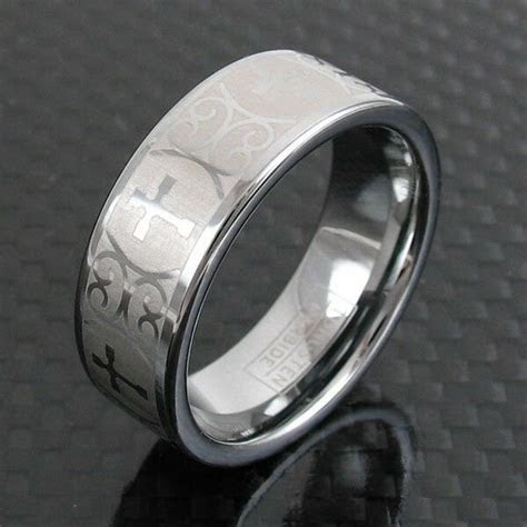 Tungsten Ornate Cross Design Etched Wedding Band Ring Size