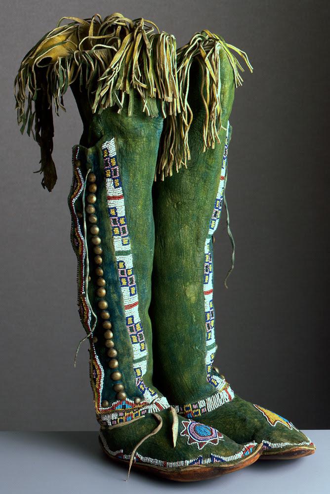 centuriespast:  unknown Kiowa artist (Kiowa),High Top Moccasins, ca. 1890/1900, leather, rawhide, paint, metal, and glass beads Portland Art Museum