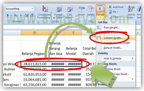Gambar: Cara Mengatur ukuran  lebar kolom agar sama secara spesifik di Microsoft Excel