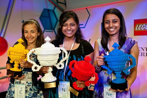Lauren Hodge, Shree Bose and Naomi Shah pose with their Google Science Fair trophies (made of Legos!)