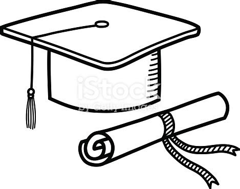graduation cap diploma hat education doodle stock vector