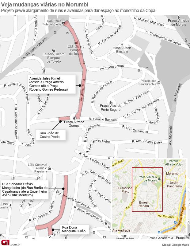 Mapa monotrilho (Foto: Editoria de Arte )
