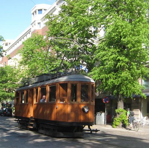 Old tram in Bulevardi, Helsinki