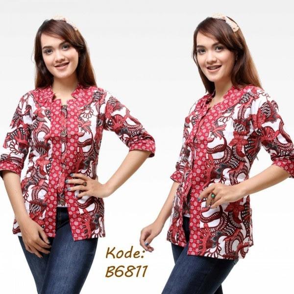 blouse batik modern baru lengan pendek Batik