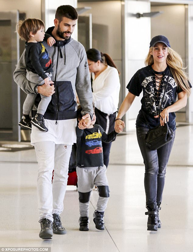 Family:Shakira, 40, has four-year-old Milan and two-year-old Sasha with Gerard, 30; the four are seen in Miami in December