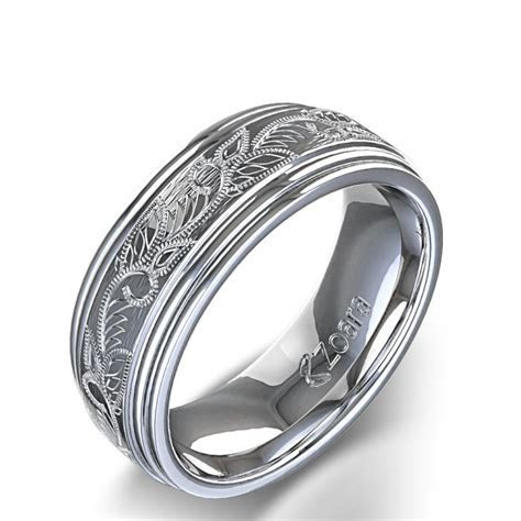 Vintage Scroll Design Men's Wedding Ring in Platinum   My