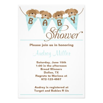 Sweet puppy baby shower Invitations