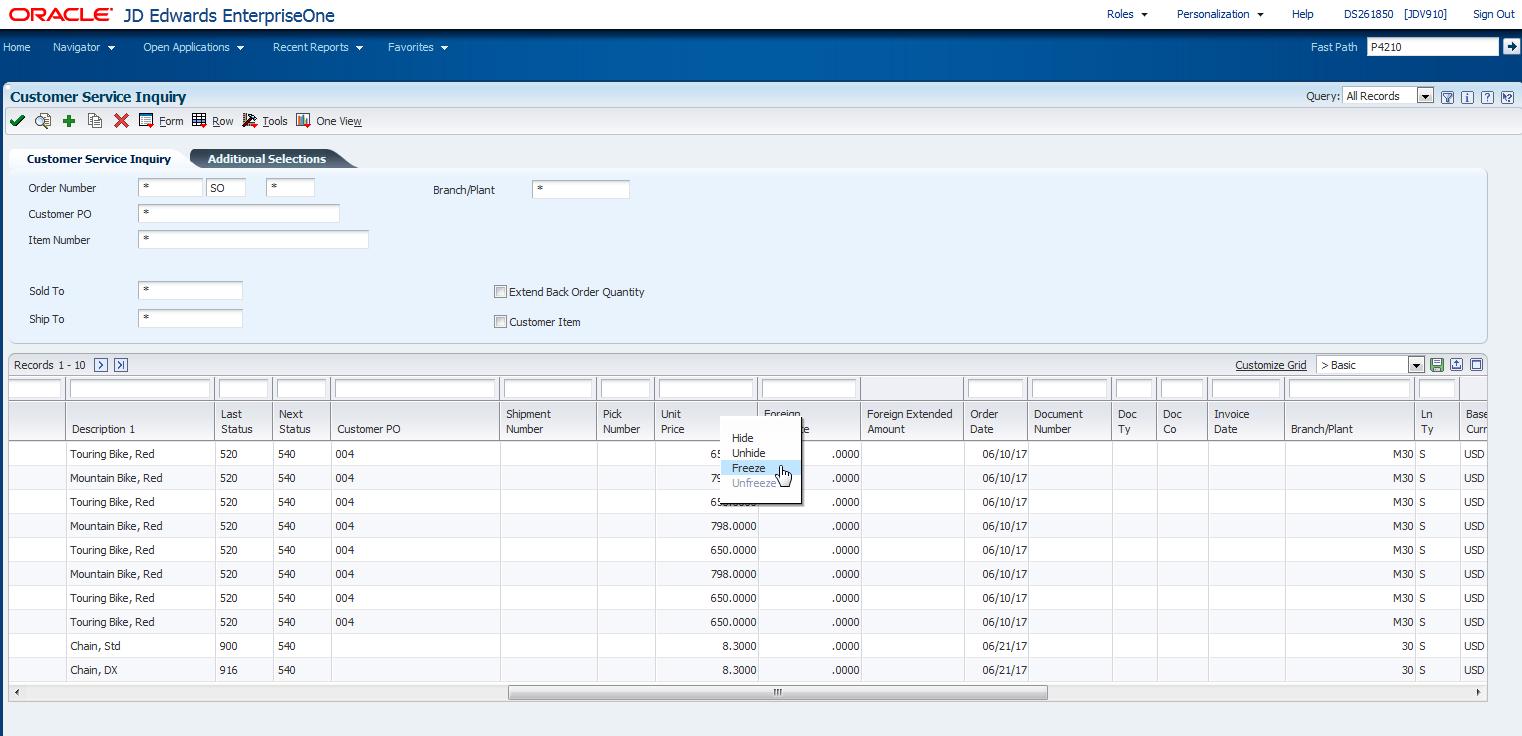 Using the JD Edwards EnterpriseOne Web Application User Interface