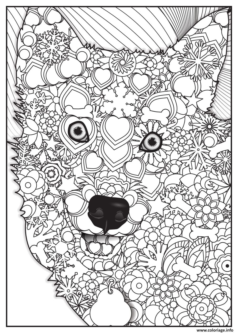 Coloriage Loup Wolf Adulte Animaux Jecoloriecom