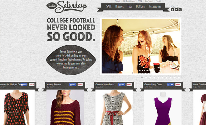 twelve saturdays ecommerce shop shopify layout