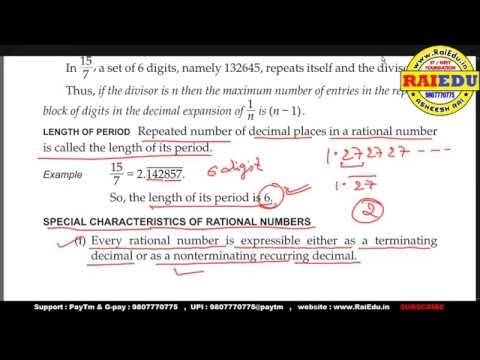 Maths   class 09   REAL NUMBER   DECIMAL REPRESENTATION OF RATIONAL NUMBERS   raiedu hindi explanation