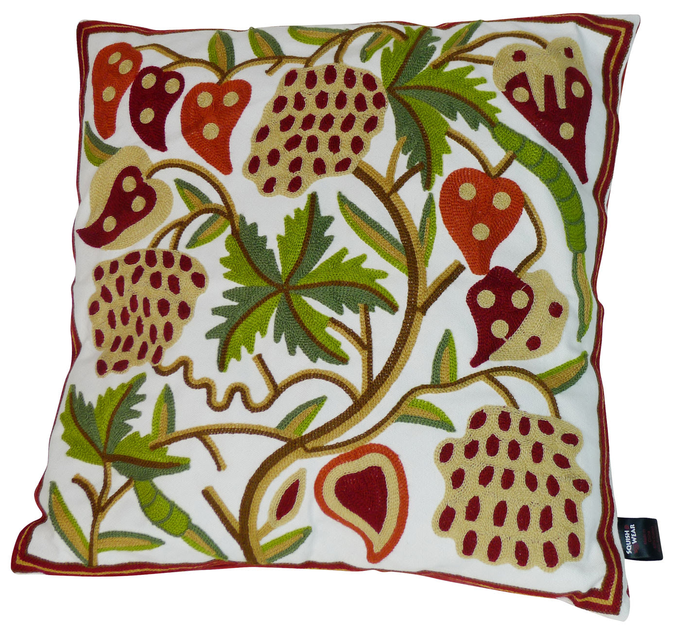 Spiceberry Embroidered Pillow cover - Tropical Design