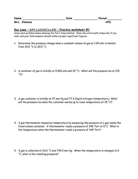 Gay-Lussac Worksheet/Problems