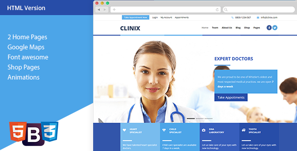 CLINIX - Medical HTML Template by xvelopers | ThemeForest