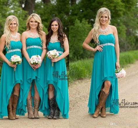 Cheap 2016 Turquoise High Low Bridesmaid Dresses Cheap