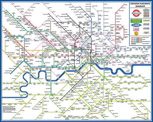 Diagrammatic Map of London's Railways after a Drawing by Henry C. Beck - Maxwell Roberts