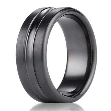 7.5mm Benchmark Black Titanium Men's Wedding Ring With