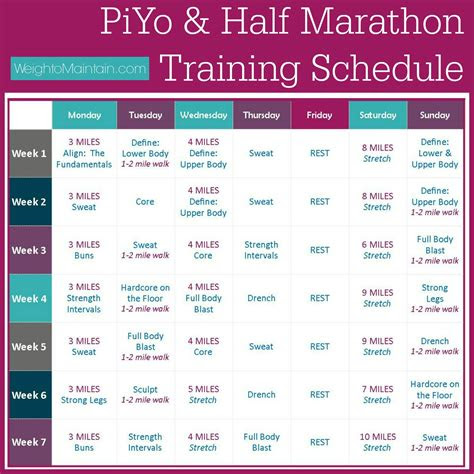 piyo  marathon training plan plan  healthy life