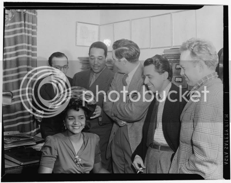 Ahmet M. Ertegun, Duke Ellington, William P. Gottlieb, Nesuhi Ertegun, and Dave Stewart, William P. Gottlieb's home, Maryland, 1941