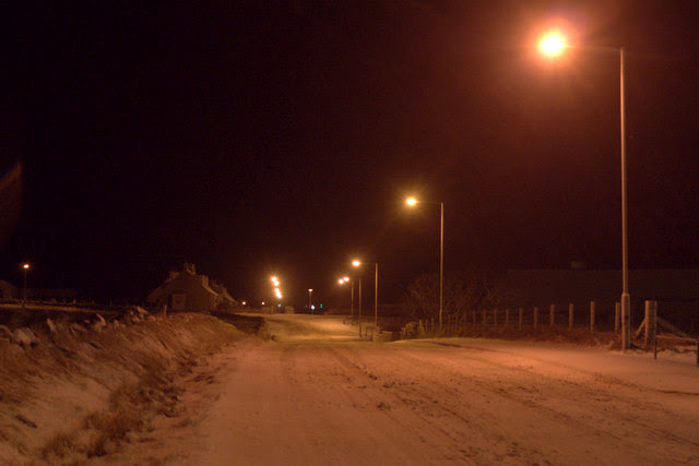 File:Road in Baltasound, in snow at night - geograph.org.uk - 1626211.jpg