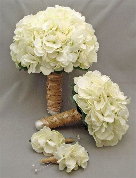 White Silk Hydrangea Bridal & Bridesmaid Bouquet Groom's