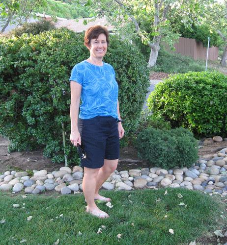 Denim shorts worn front