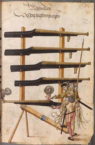 Landsknechts firing large hand held cannon