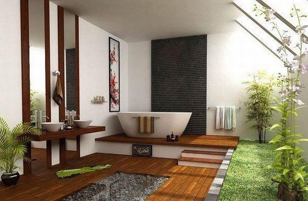Japanese bathroom showcases a balance of elements