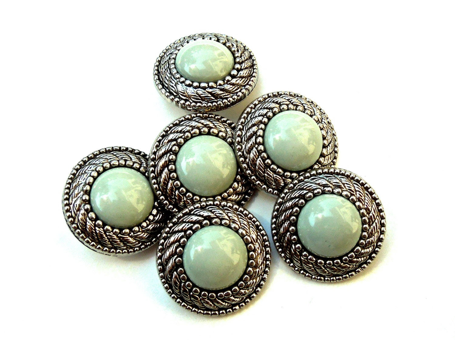 VINTAGE: 6 Retro Mint and Silver Snap Together Plastic Buttons - 80's - DansandBrandi