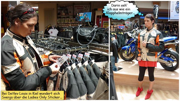 Svenja Svendura bei Detlev Louis in Kiel Motorradsachen anprobieren