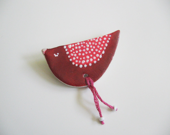 Red bird brooch- polymer clay brooch- sleeping bird- dark red and pink pattern - aplusdesignnn