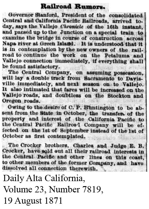 CP acquisition of CalP, Crockers sell - Daily Alta California, Volume 23, Number 7819, 19 August 1871.