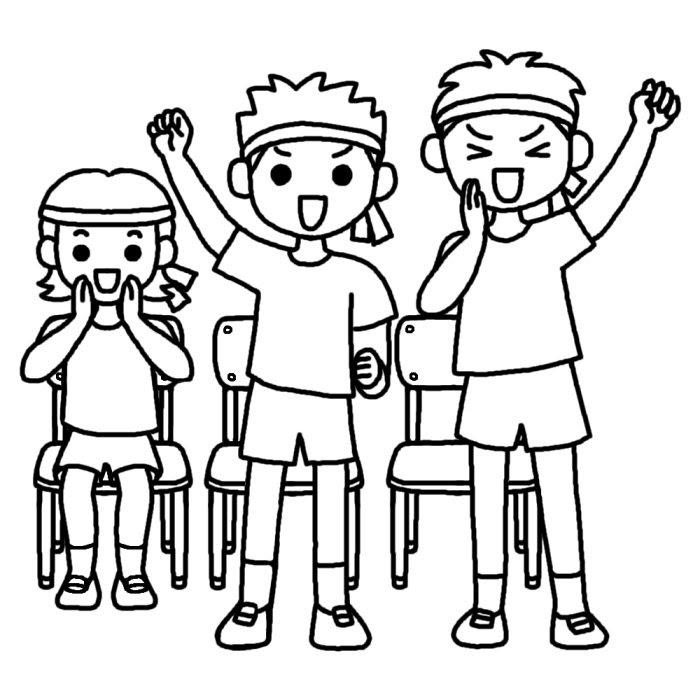 応援3白黒運動会体育祭の無料イラスト学校行事素材