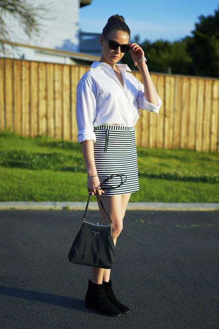 white shirt j skirt