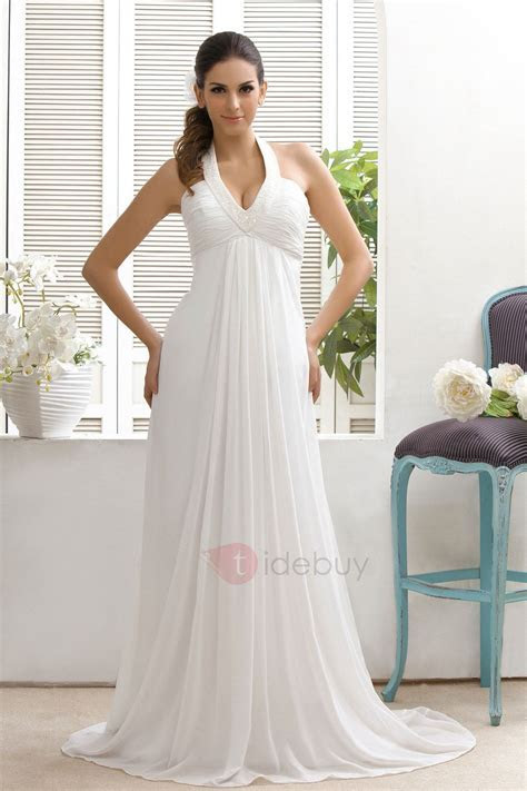 Empire Waist Court Train Halter Beach Wedding Dress
