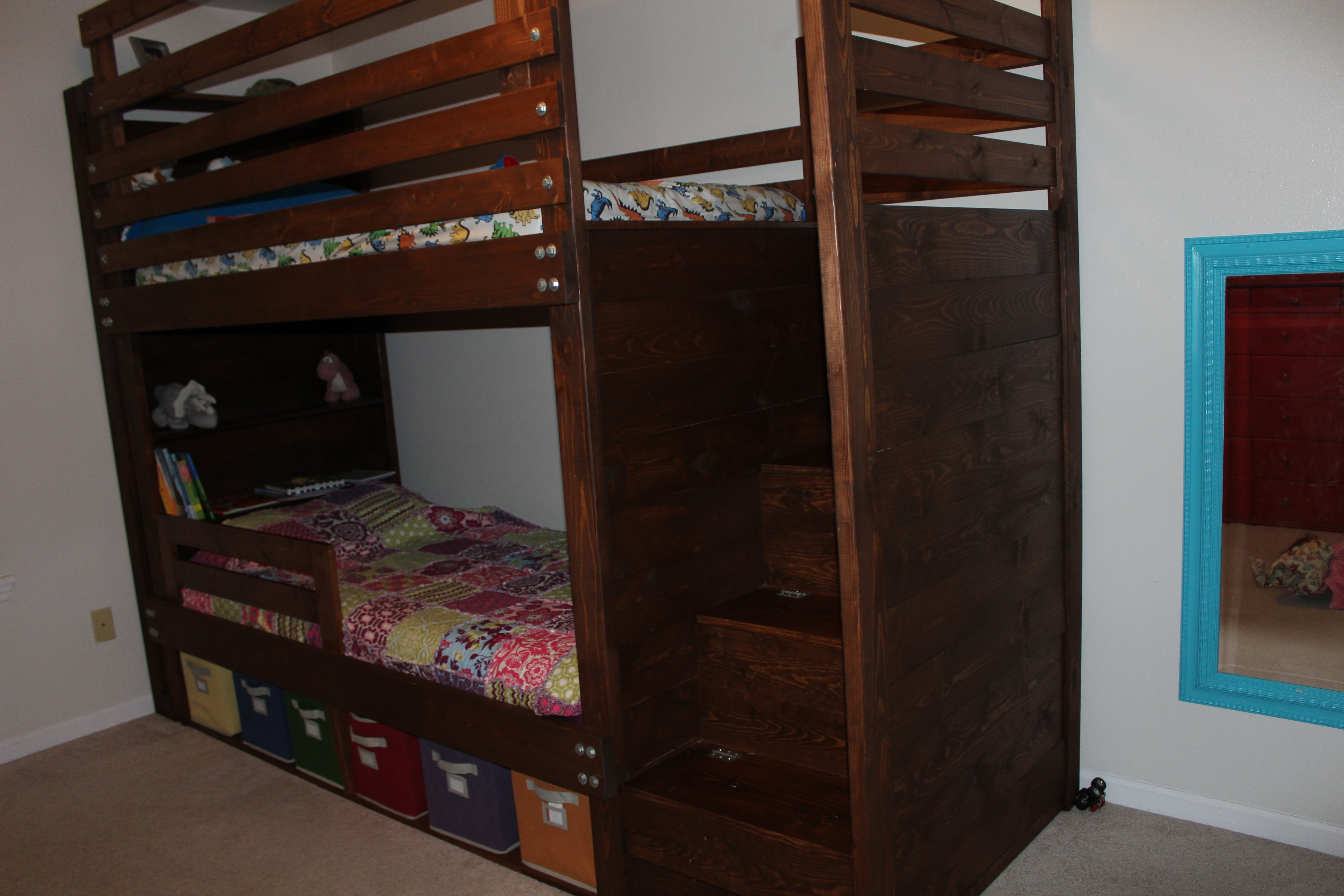 Ana White  Bunkbed with bookshelves, stairs and storage bins  DIY Projects