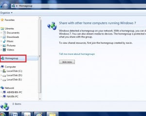 Windows 7 Home group
