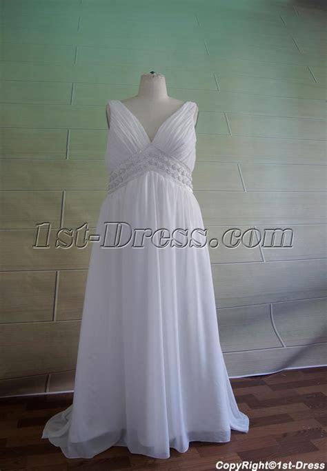 Plus Size V neckline Maternity Wedding Dress 5049:1st