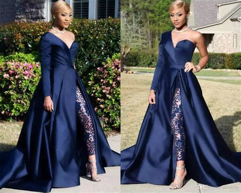 2018 Modest Blue Jumpsuits With Detachable Skirt Two
