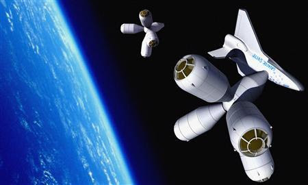 An artists rendering of a shuttle docking with the Galactic Suite hotel is seen in an undated publicity photo. 'Galactic Suite', the first hotel planned in space, expects to open for business in 2012 and would allow guests to travel around the world in 80 minutes. REUTERS-Galactic Suite-Handout