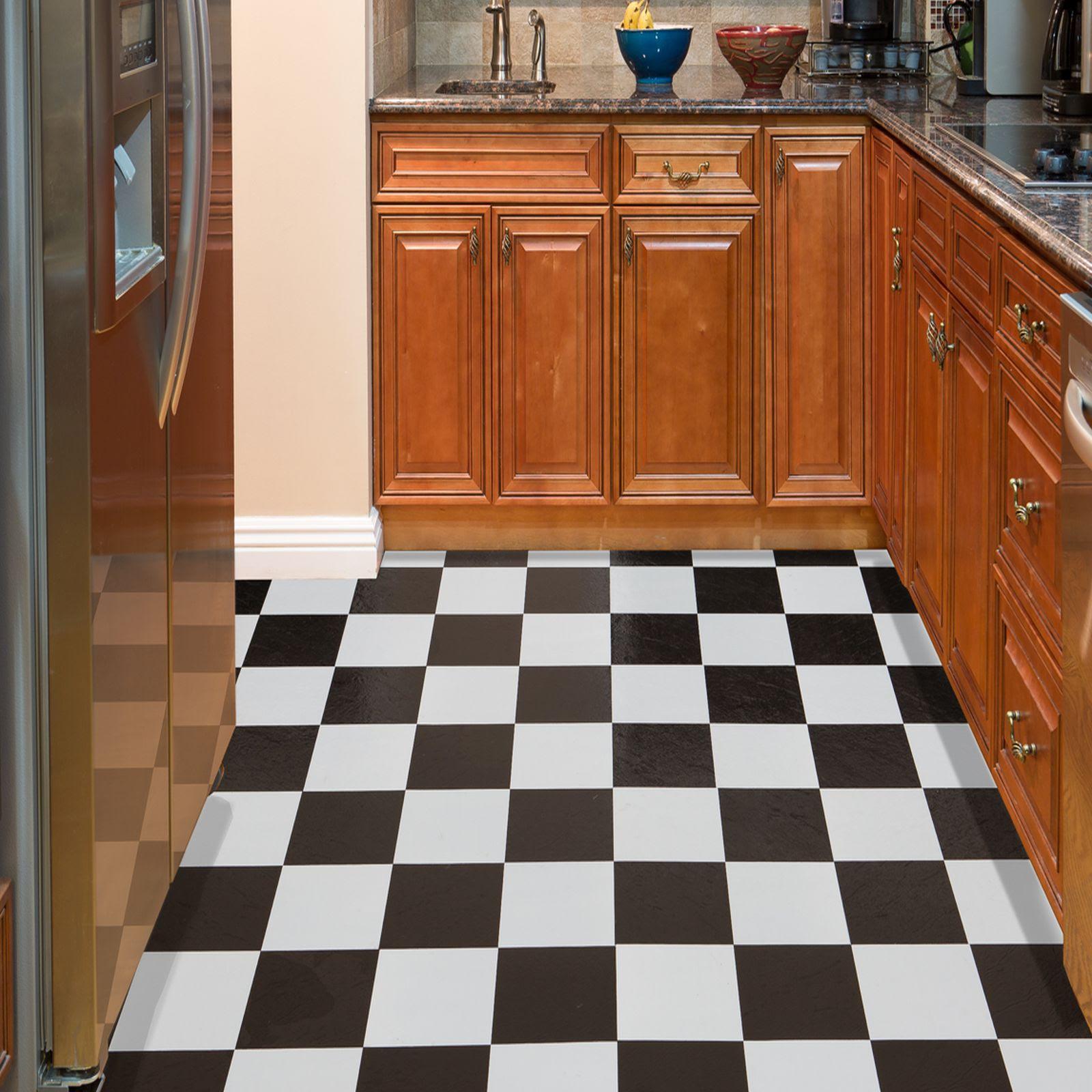 Black White Checkered Vinyl Flooring